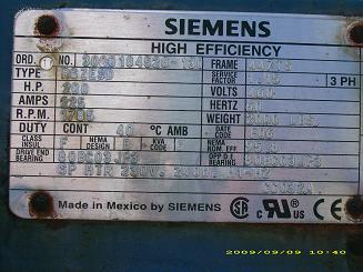 Siemens 200 Hp Motor Coupling Amp Gear Box